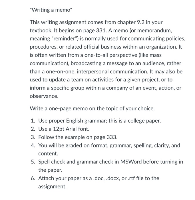Organizing Your Social Sciences Research Paper: Writing a Policy Memo