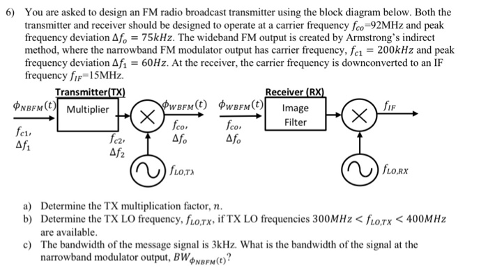 solved  you are asked to design an fm radio broadcast tran