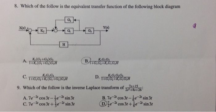 Solved  Which Of The Follow Is The Equivalent Transfer Fun