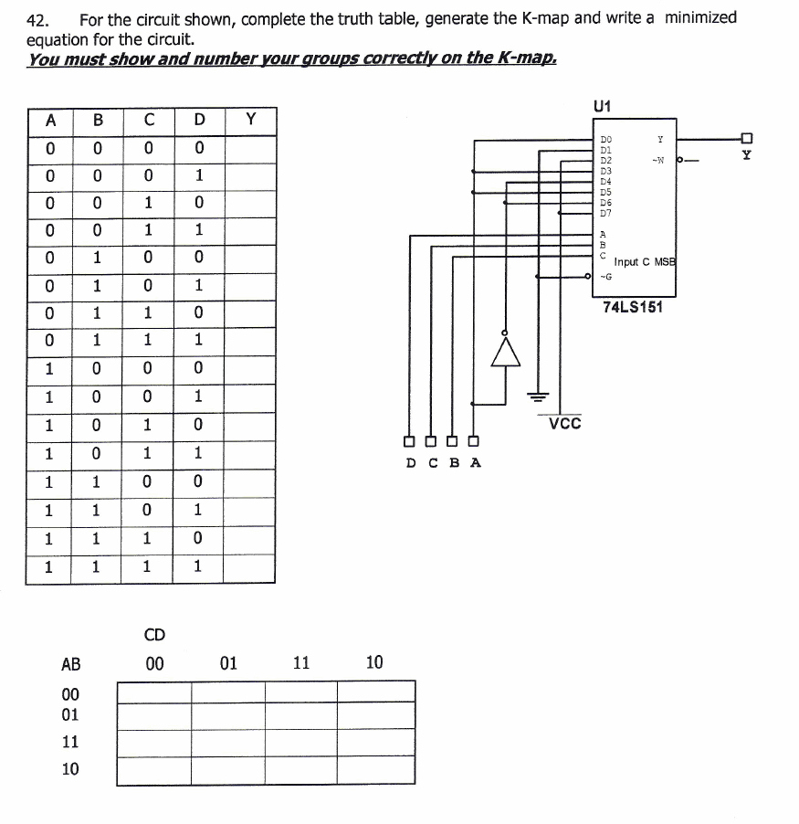 for the circuit shown  complete the truth table