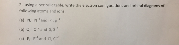 Using a periodic table write the electron configu for Periodic table 6 mark question