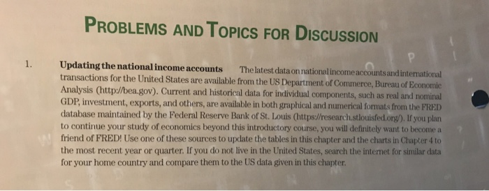 Solved the latest data on national income accounts and in - Bureau of economic analysis us department of commerce ...