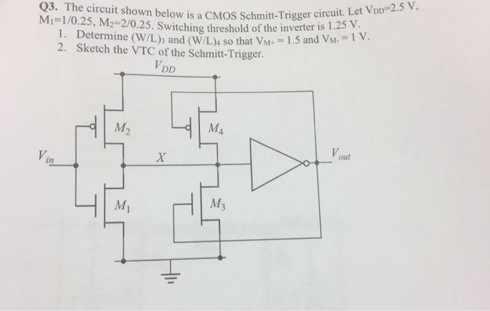 the circuit shown below is a cmos schmitt