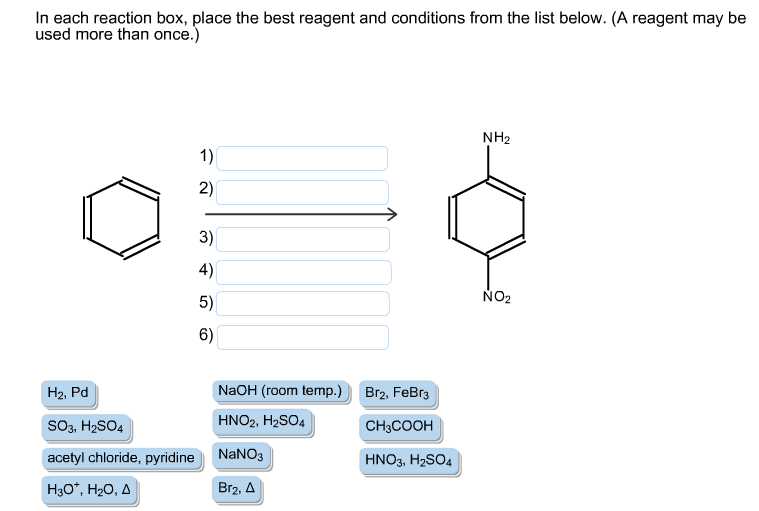 in each reaction box place the best reagent and conditions from the list below oh-#12
