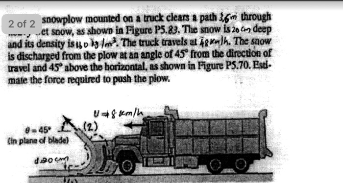 Solved: Snowplow Mounted On A Truck Clears A Path 3.5 M Th ...