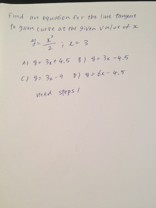 Equation of tangent line to the curve?