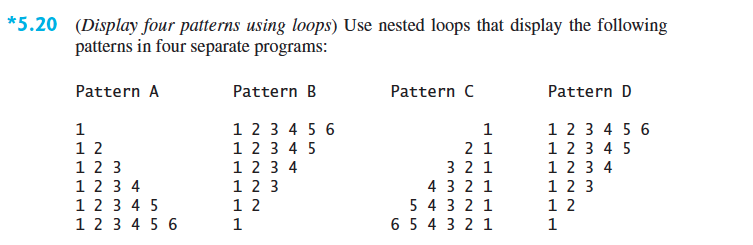 write an applet program that displays the following pattern