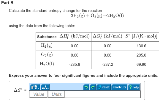 Predict the sign of the entropy change delta s for Delta s table chemistry