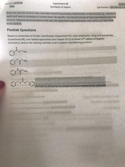 Chemistry- Aspirin lab question