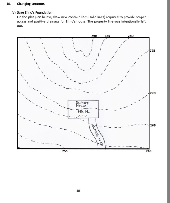 On the plot plan below draw new contour lines so for Find plot plan online