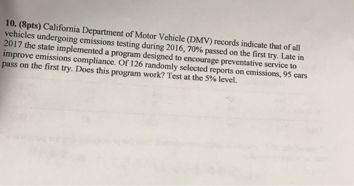 10 8pts california department of motor vehicle for Motor vehicle emissions test