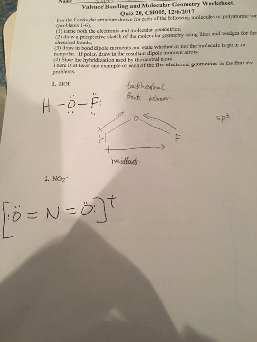 solved valence bonding and molecular geometry worksheet q. Black Bedroom Furniture Sets. Home Design Ideas