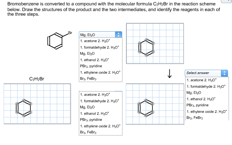 Formula c7h7br in the reaction scheme below draw the structures of