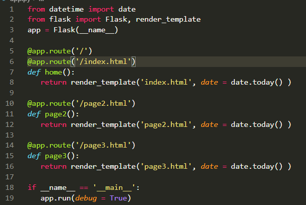 1 2 from datetime import date from flask import Flask, render_template app = Flask(_name_) 3 4 5 @app.route(7) @app.route(