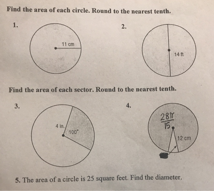 Find The Area Of Each Circle Round To The Nearest Tenth 1 2