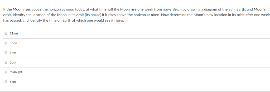 Solved: If The Moon Rises Above The Horizon At Noon Today