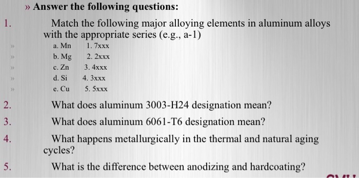 Solved: Match The Following Major Alloying Elements In Alu