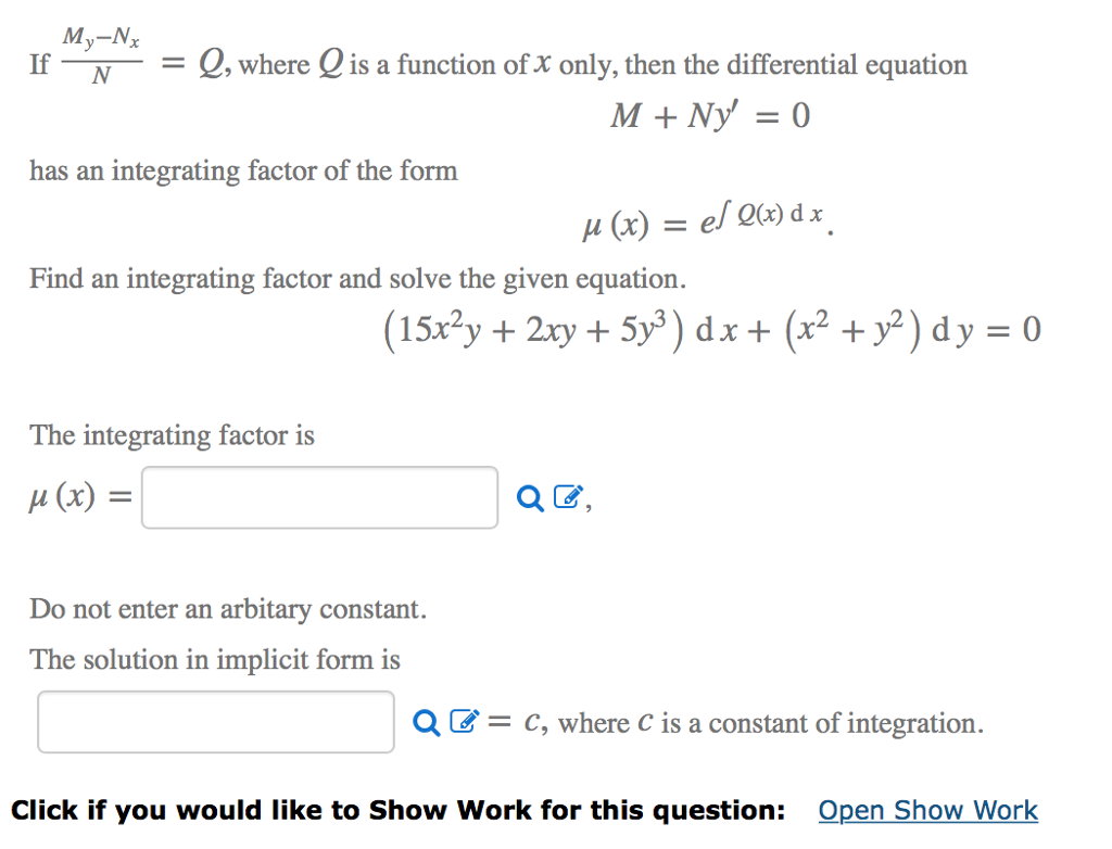 Solved: My-N If Q, Where Q Is A Function Of X Only, Then T ...