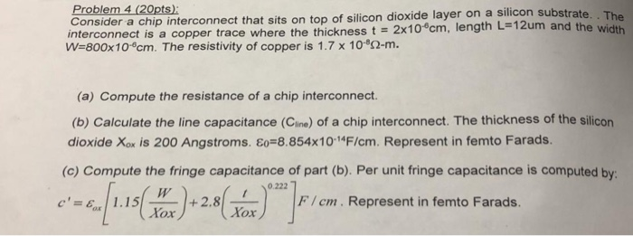 Solved: Problem 4 (20pts) Consider A Chi Interconnect Is A