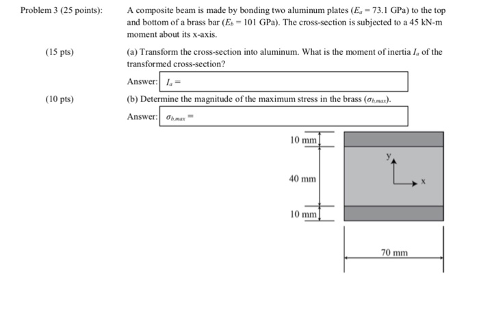 Solved: Problem 3 (25 Points):A Composite Beam Is Made By