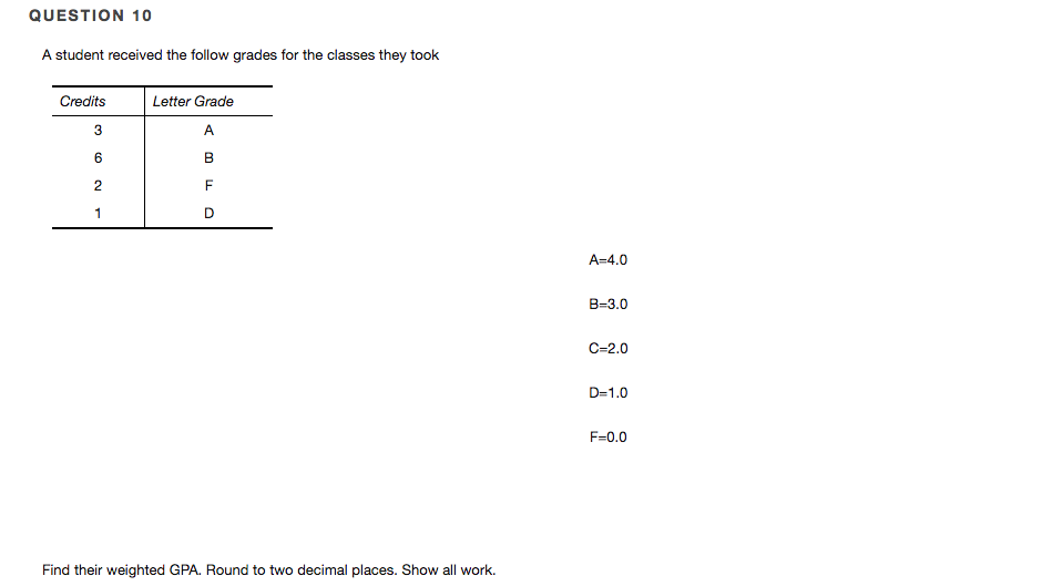 Solved: QUESTION 10 A Student Received The Follow Grades F