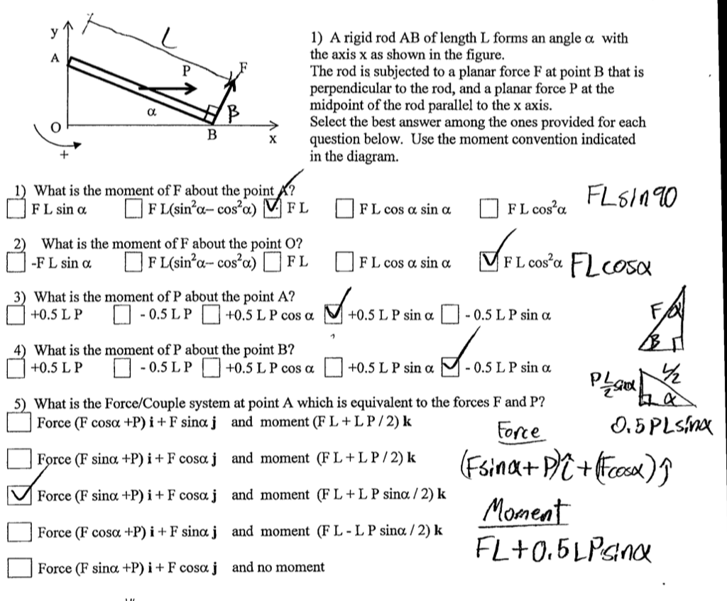 solved 1 a rigid rod ab of length l forms an angle α wit