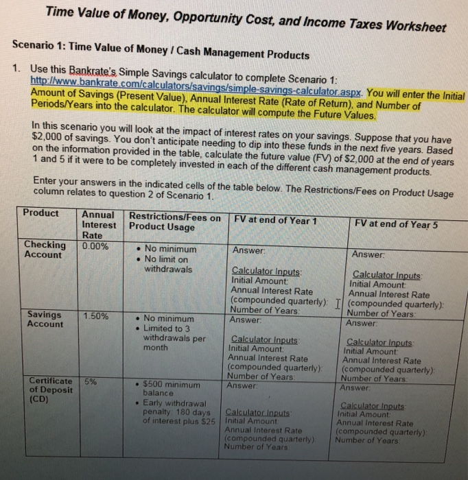 Solved time value of money opportunity cost and income question time value of money opportunity cost and income taxes worksheet scenario 1 time value of money ibookread Download