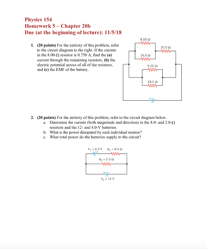 Solved Physics 154 Homework 5 Chapter 20b Due At The Beg Circuit Diagram Beginning Of Lecture
