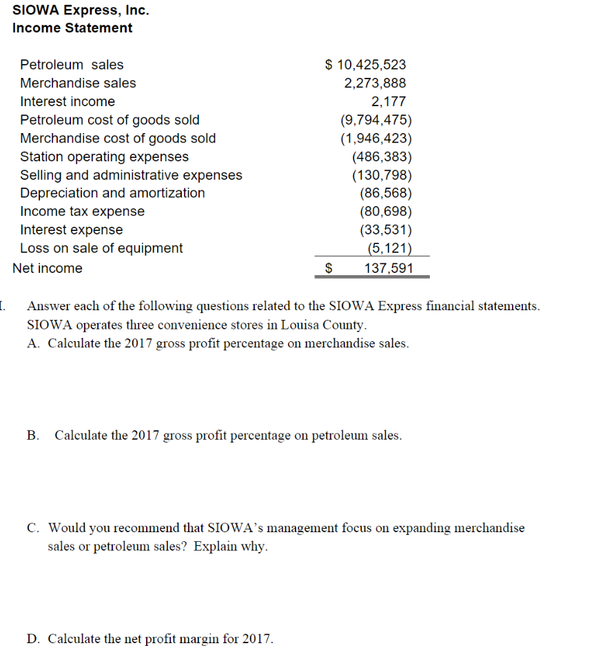solved siowa express inc income statement petroleum sal