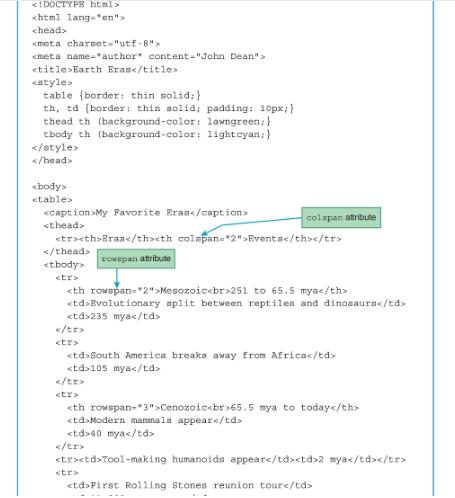 HTML TABLE HEADER ROWSPAN COLSPAN - HTML table basics