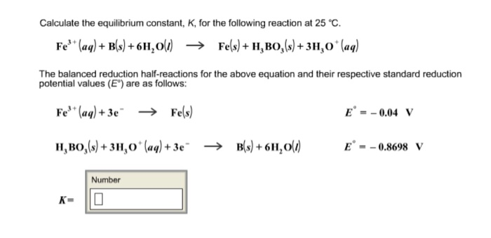 Solved: Calculate The Equilibrium Constant, K, For The Fol