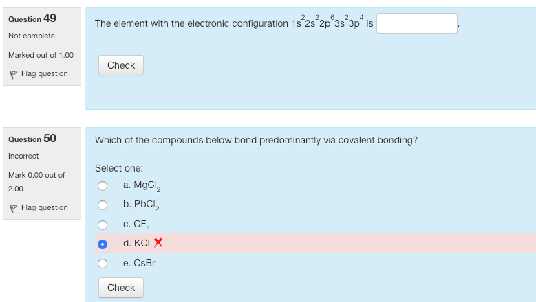 Solved: Question 49 The Element With The Electronic Config
