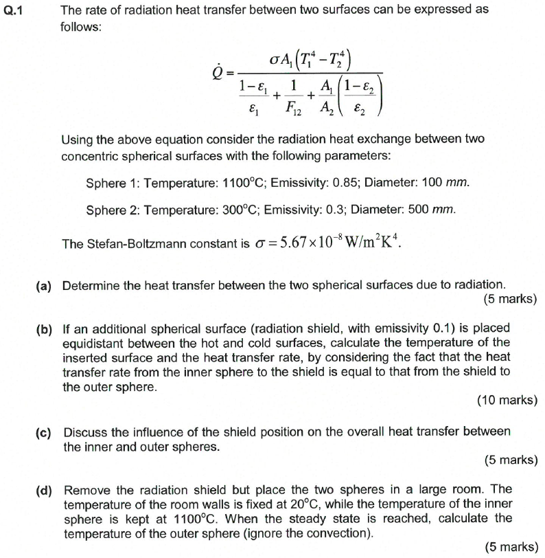 Solved The Rate Of Radiation Heat Transfer Between Two Su Chegg Com