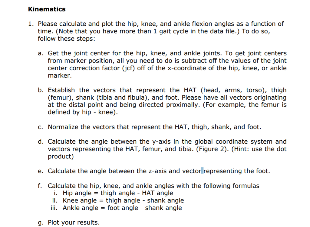 Kinematics 1 Please Calculate And Plot The Hip K Chegg