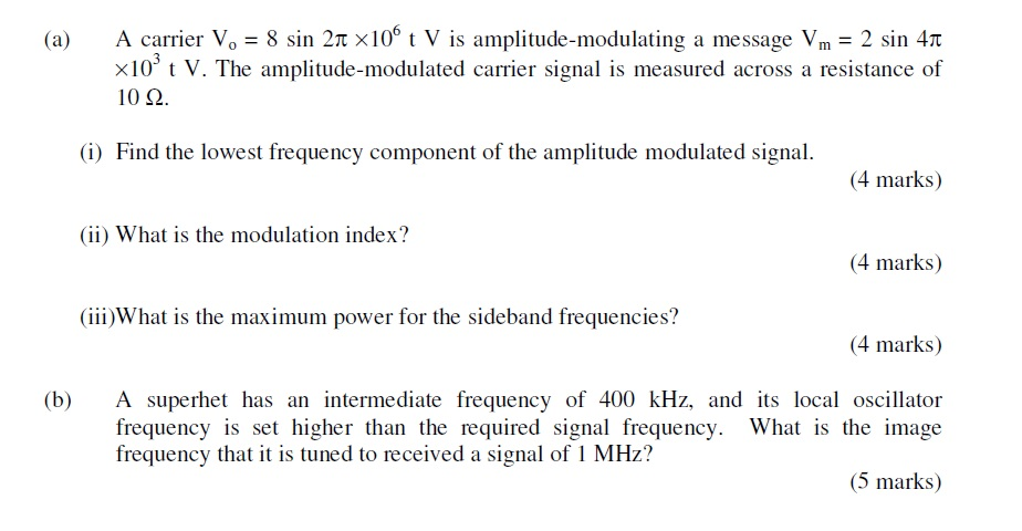 Solved: (a) A Carrier Vo = 8 Sin 2p ×106 T V Is Amplitude