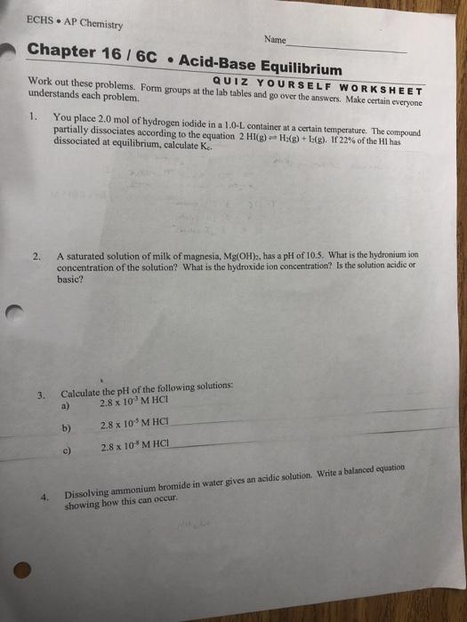 Solved Echs Ap Chemistry Chapter 16 6c Acid Base Equilib