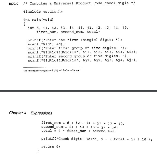 Solved: 5  Rewrite The Upc c Program Of Section 4 1 So Tha