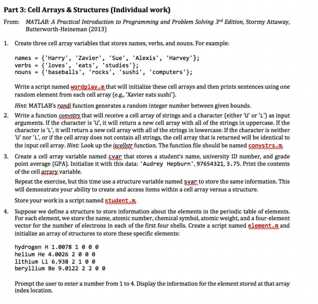Solved Part 20 Cell Arrays & Structures Individual work   Chegg.com