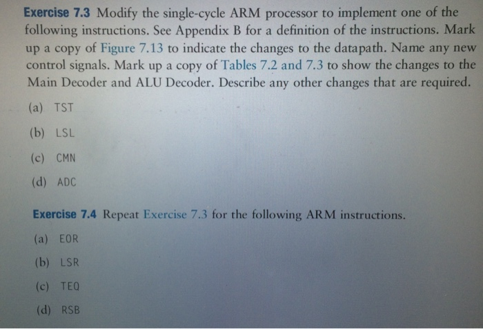 Solved Exercise 73 Modify The Single Cycle Arm Processor