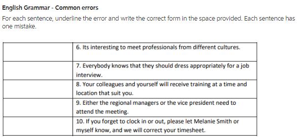 Solved: English Grammar - Common Errors For Each Sentence