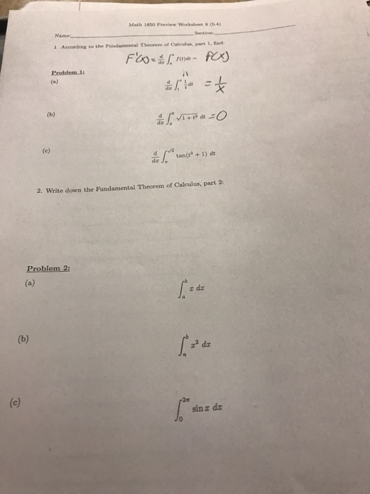 Solved: Math 1850 Preview Worksheet S(.4) O) An+ 1 2. Writ ...