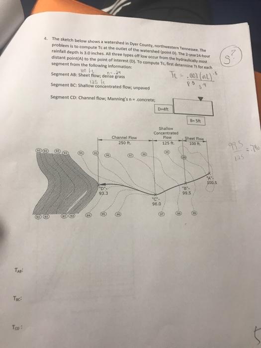 Solved: Complete The Worksheet 3 For Problem 4 TR 55 Works ...