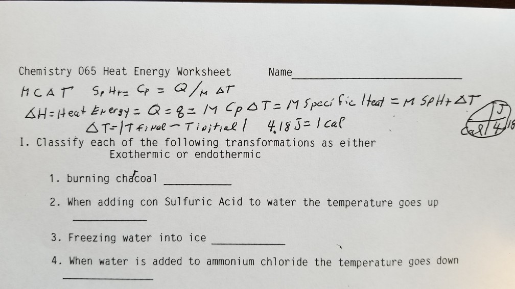 Solved: Chemistry 065 Heat Energy Worksheet Name Heat Ever ...