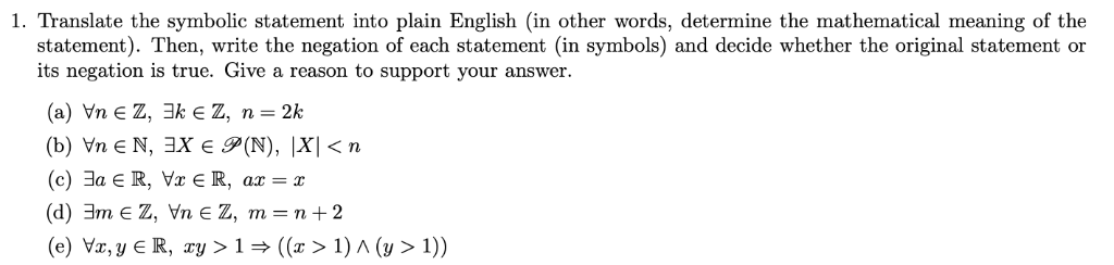 Solved: 1  Translate The Symbolic Statement Into Plain Eng