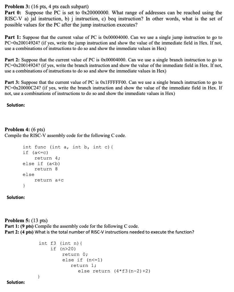 Problem 3: (16 Pts, 4 Pts Each Subpart) Part 0: Su