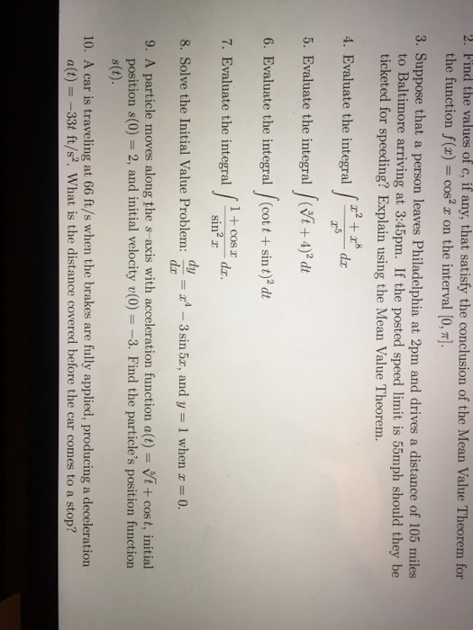 Solved Find The Values Of C If Any That Satisfy The Con