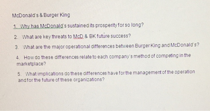 Solved: McDonald's & Burger King 1  Why Has McDonald's Sus