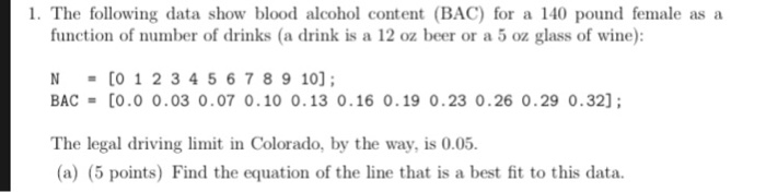 The following data show blood alcohol content (BAC) for a 140 pound