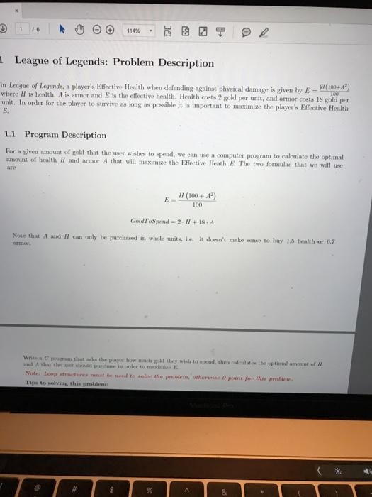 Solved 1 16 League Of Legends Problem Description In La
