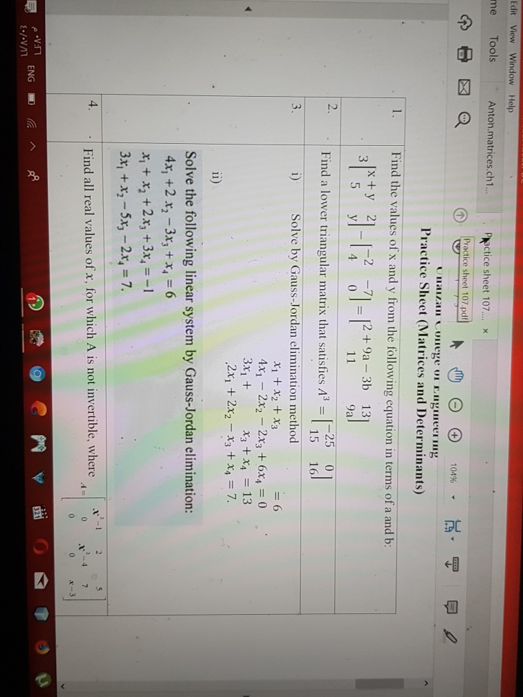 Solved: Edit View Window Help Me Tools Anton matrices ch1
